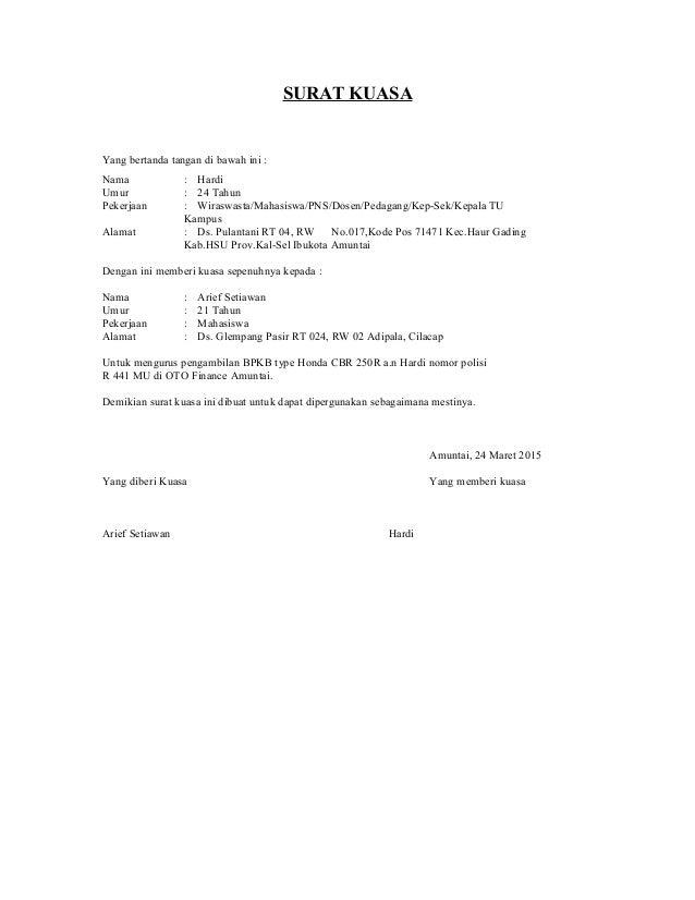 Surat Kuasa Pengambilan Bpkb Docx