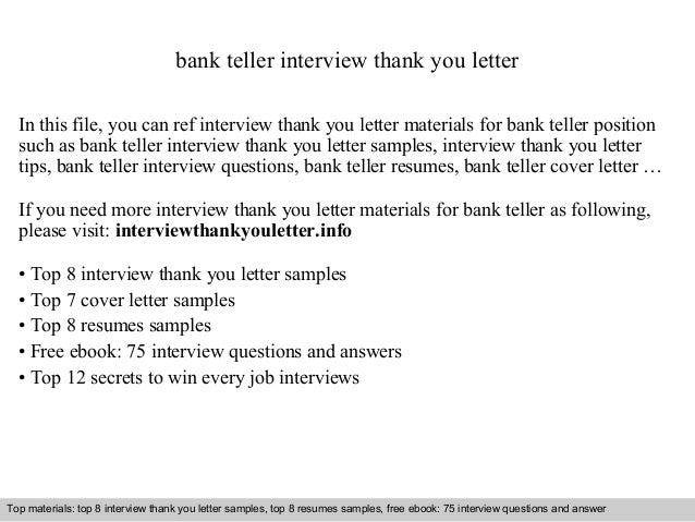 Bank Teller Interview Thank You Letter In This File, You Can Ref Interview Thank  You Interview Thank You Letter Sample ...  Thank You Letter Examples