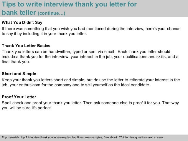 Bank teller tips to write interview thank you letter expocarfo