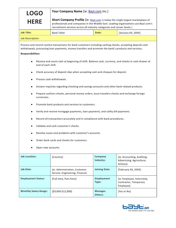 Bank Teller Job Description Template By Bayt.Com