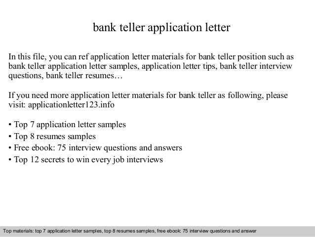 bank teller application letter in this file you can ref application letter materials for bank - Bank Teller Interview Questions And Answers