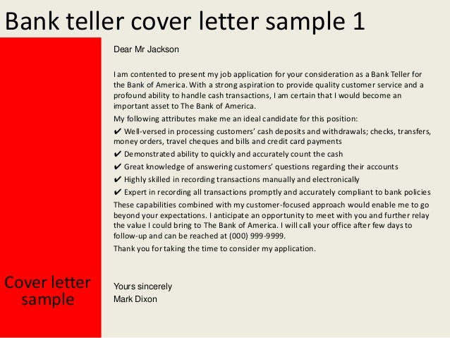 Cover letter for a bank teller position