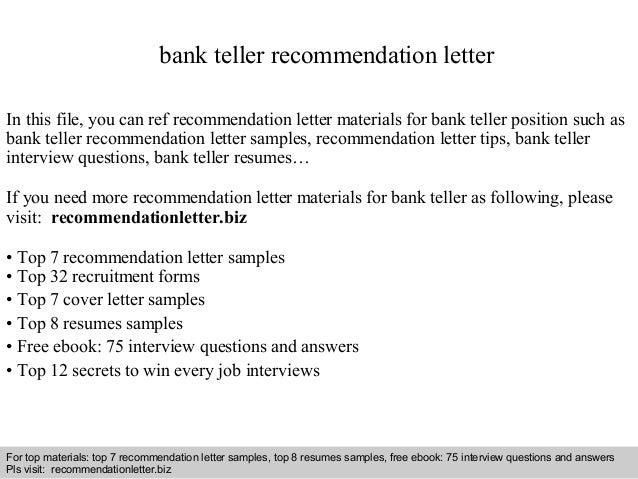 Bank teller recommendation letter