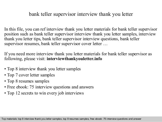 Awesome Bank Teller Supervisor Interview Thank You Letter In This File, You Can Ref  Interview Thank ...