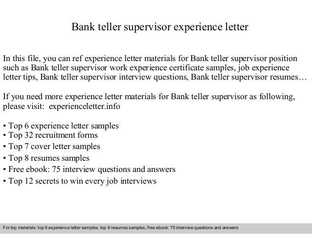 Amazing Bank Teller Supervisor Experience Letter 1 638 Jpg Cb 1409571715
