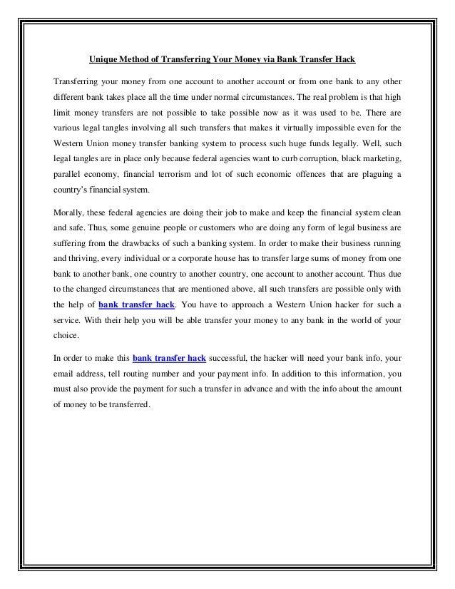 Bank Transfer Hack | wuhack247 com