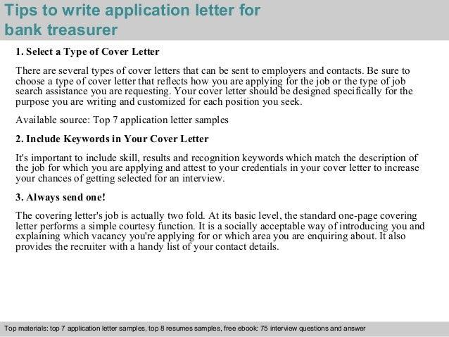 Bank Treasurer Application Letter