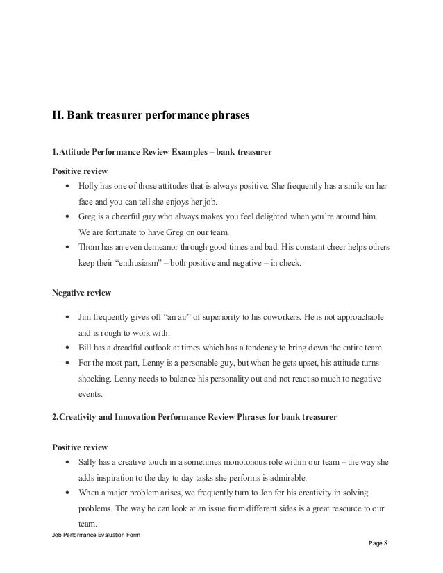 Bank Treasurer Performance Appraisal