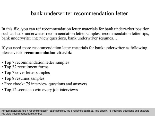 bank underwriter recommendation letter