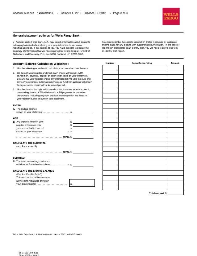 Wells Fargo Bank Statement – Check Register Worksheet