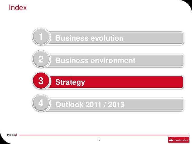 Index        1   Business evolution        2   Business environment        3   Strategy        4   Outlook 2011 / 2013    ...
