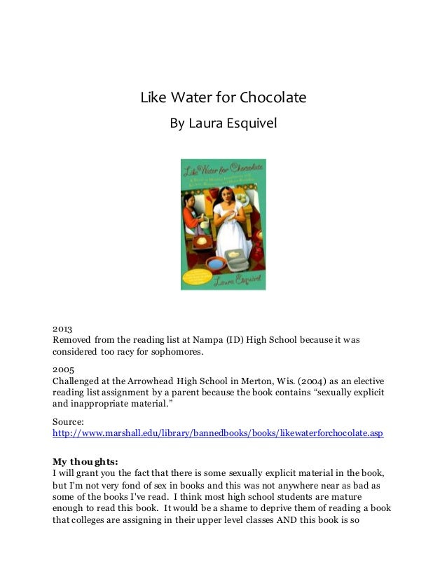an analysis of a passage from like water for chocolate a book by laura esquivel A detailed discussion of the writing styles running throughout like water for chocolate like water for laura esquivel writing character analysis.