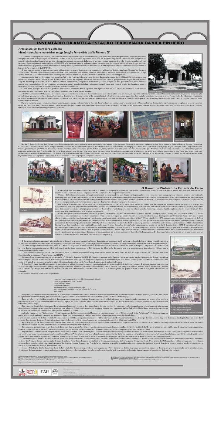 INVENTÁRIO DA ANTIGA ESTAÇÃO FERROVIÁRIA DA VILA PINHEIROArtesanato: um trem para a estaçãoMemória e cultura material na a...