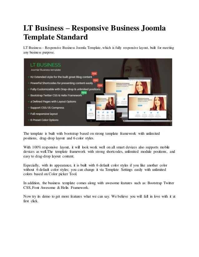 LT Business – Responsive Business Joomla Template Standard LT Business – Responsive Business Joomla Template, which is ful...