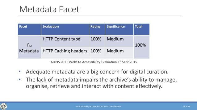 of 63 Metadata Facet • Adequate metadata are a big concern for digital curation. • The lack of metadata impairs the archiv...