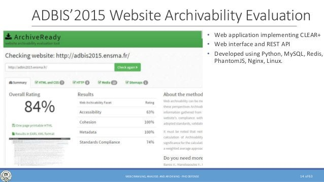 of 63 ADBIS'2015 Website Archivability Evaluation • Web application implementing CLEAR+ • Web interface and REST API • Dev...