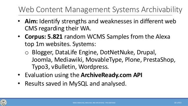 of 63 Web Content Management Systems Archivability • Aim: Identify strengths and weaknesses in different web CMS regarding...
