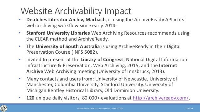 of 63 Website Archivability Impact • Deutches Literatur Archiv, Marbach, is using the ArchiveReady API in its web archivin...