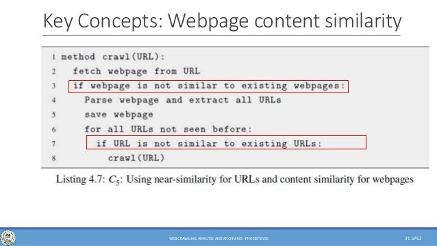 of 6331WEB CRAWLING, ANALYSIS AND ARCHIVING - PHD DEFENSE Key Concepts: Webpage content similarity