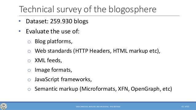 of 63 Technical survey of the blogosphere • Dataset: 259.930 blogs • Evaluate the use of: o Blog platforms, o Web standard...