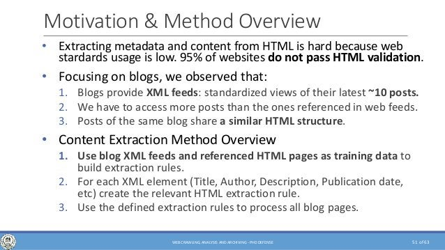 of 63 Motivation & Method Overview • Extracting metadata and content from HTML is hard because web stardards usage is low....