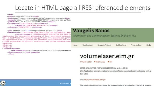 of 63 Locate in HTML page all RSS referenced elements 52WEB CRAWLING, ANALYSIS AND ARCHIVING - PHD DEFENSE
