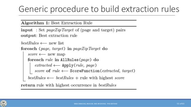 of 63 Generic procedure to build extraction rules 53WEB CRAWLING, ANALYSIS AND ARCHIVING - PHD DEFENSE