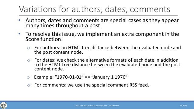 of 63 Variations for authors, dates, comments • Authors, dates and comments are special cases as they appear many times th...