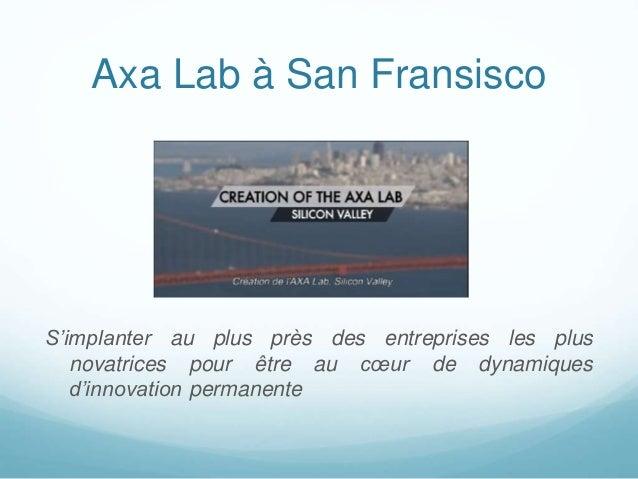 Axa Lab à San Fransisco S'implanter au plus près des entreprises les plus novatrices pour être au cœur de dynamiques d'inn...