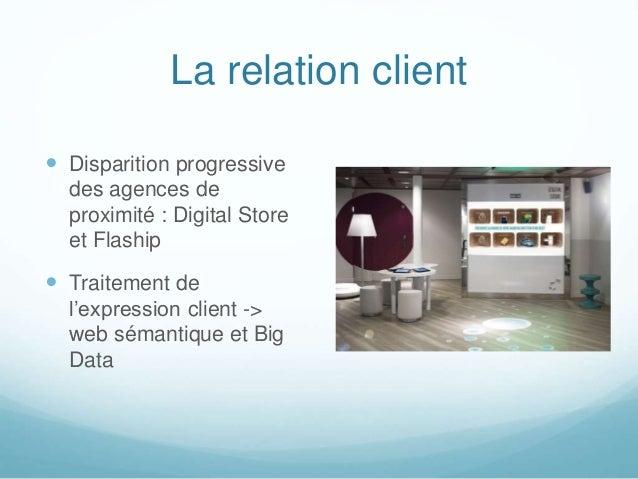 La relation client  Disparition progressive des agences de proximité : Digital Store et Flaship  Traitement de l'express...
