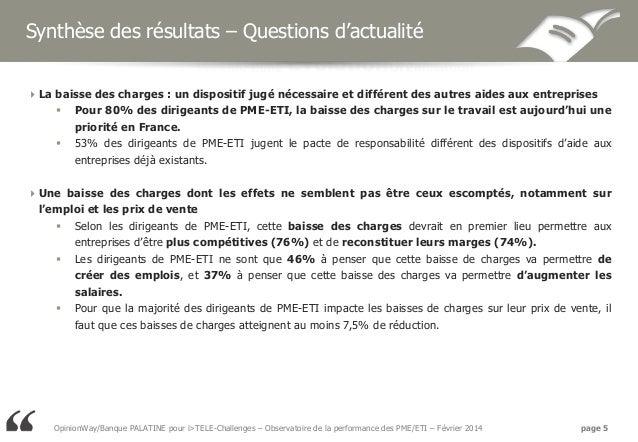 Synthèse des résultats – Questions d'actualité La baisse des charges : un dispositif jugé nécessaire et différent des aut...