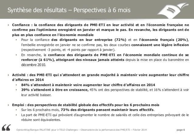 Synthèse des résultats – Perspectives à 6 mois  Confiance : la confiance des dirigeants de PME-ETI en leur activité et en...