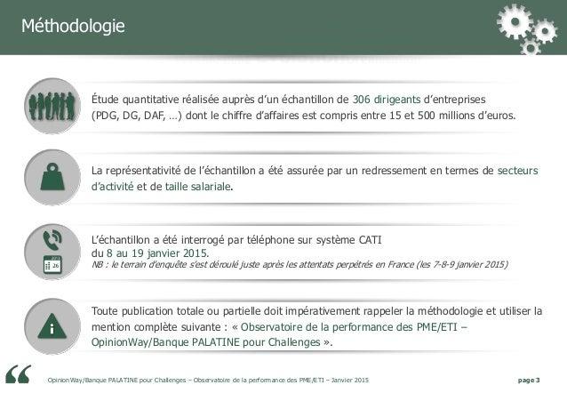 Banque Palatine / Opinionway : Observatoire de la performance des PME/ETI / Janvier 2015 Slide 3