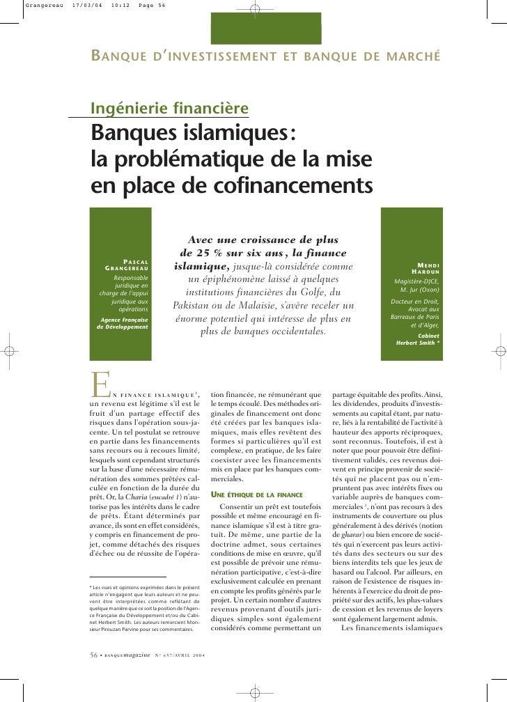 B ANQUE D ' INVESTISSEMENT                                                          ET BANQUE DE MARCHÉ    Ingénierie fina...