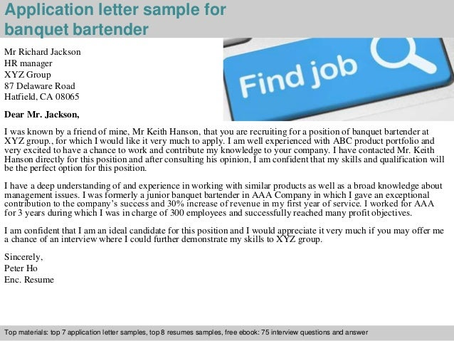 Banquet bartender application letter application letter sample for banquet bartender spiritdancerdesigns Gallery