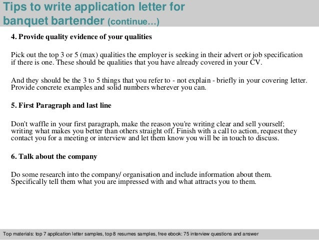 banquet bartender application letter
