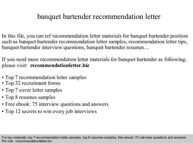 interview questions and answers free download pdf and ppt file banquet bartender recommendation letter - Bartender Resume Samples Free