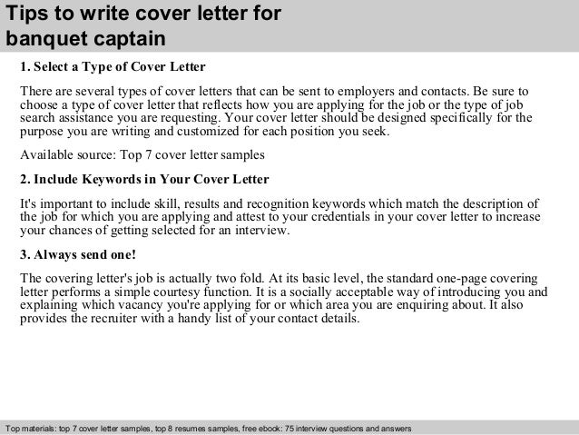 3 tips to write cover letter for banquet captain - Banquet Captain Cover Letter