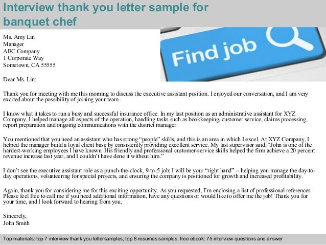 ... 2. Interview Thank You Letter Sample For Banquet Chef ...