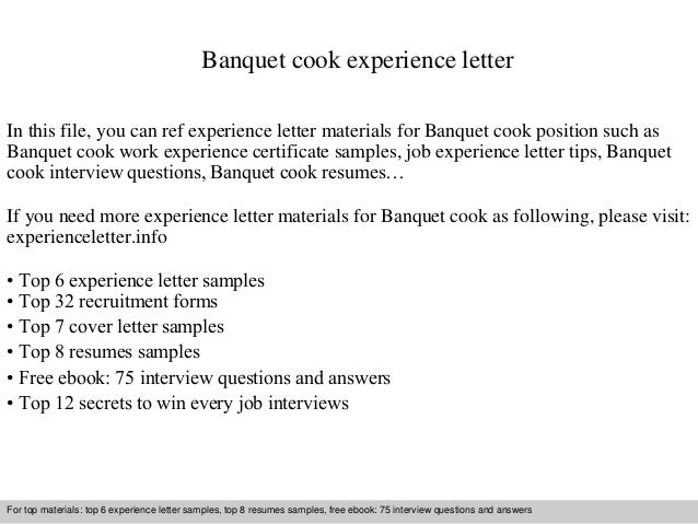 Banquet Cook Experience Letter In This File You Can Ref Materials For