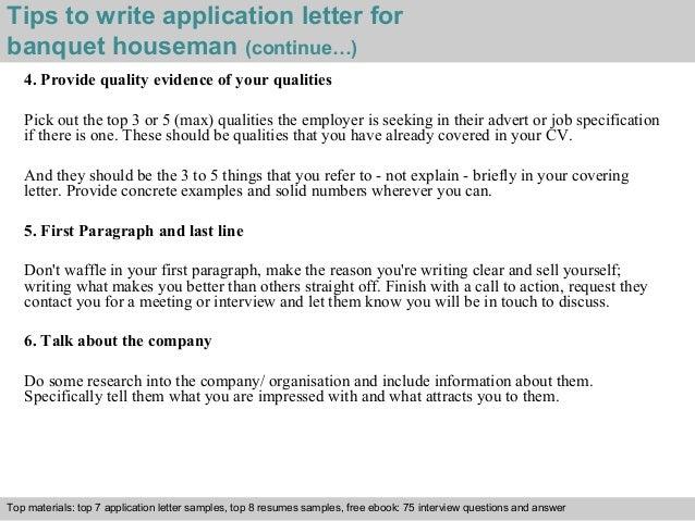 banquet houseman application letter