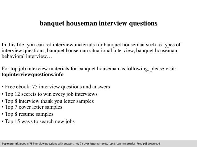 Banquet Houseman Resume Sample. houseman resume reentrycorps ...