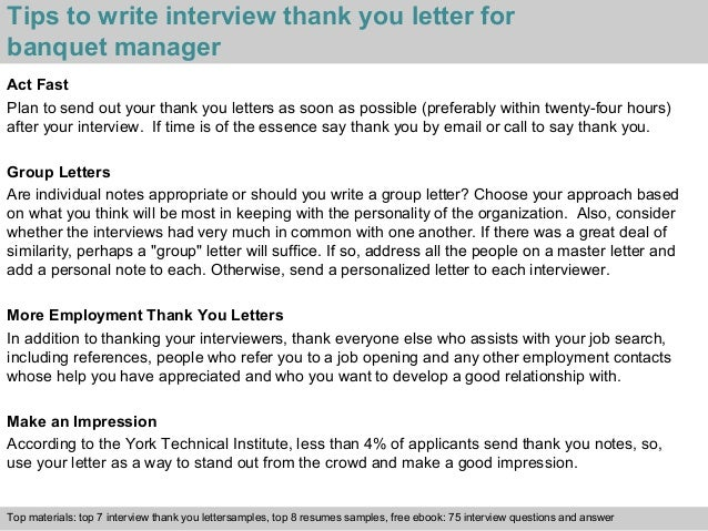 3 tips to write interview thank you letter for banquet manager