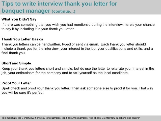 Banquet manager 4 tips to write interview thank you letter for banquet manager expocarfo Gallery