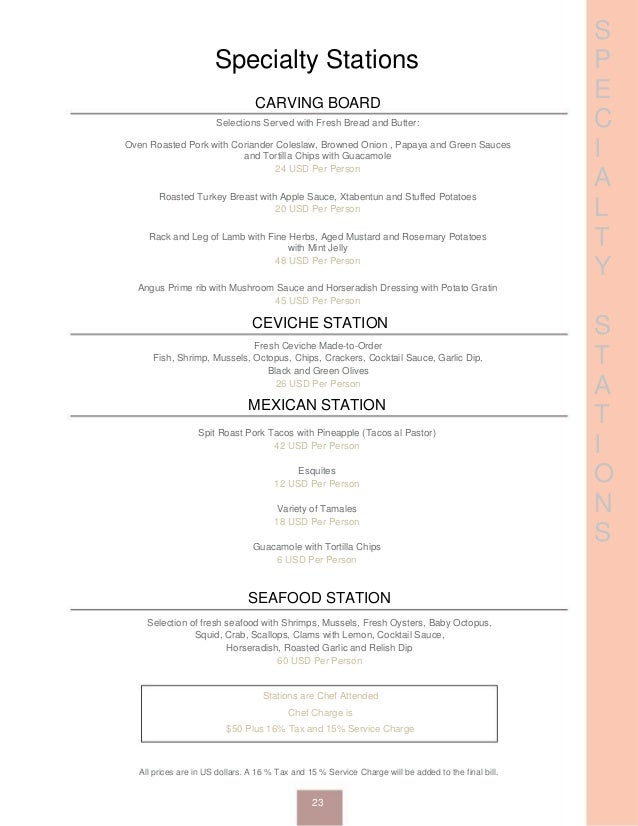 S P E C I A L T Y S T A T I O N S Specialty Stations CARVING BOARD Selections Served with Fresh Bread and Butter: Oven Roa...