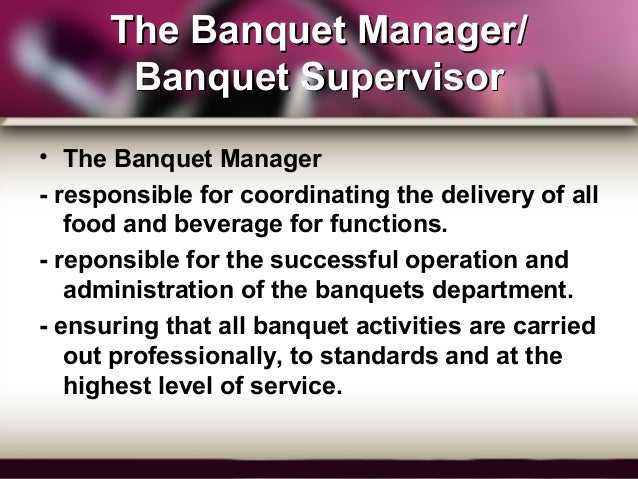 banquet personnel manager supervisor and captain