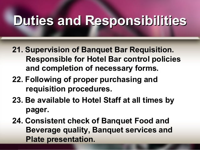 Banquet Personnel Manager, Supervisor and Captain
