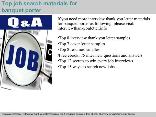 5 top job search materials for banquet porter - Banquet Porter Sample Resume