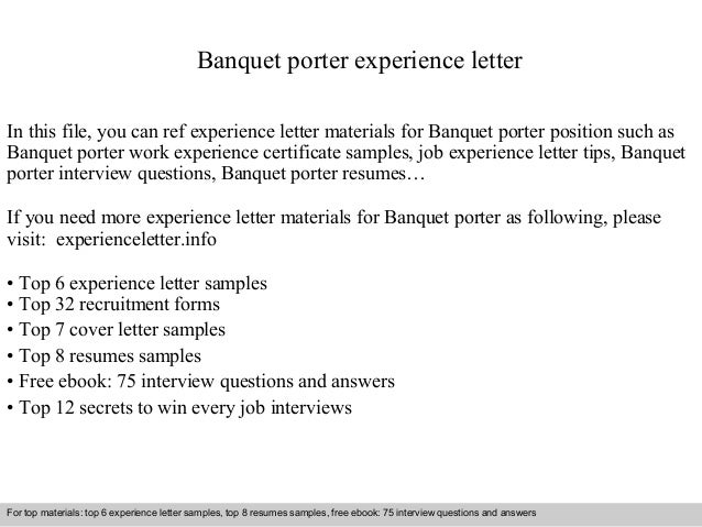 banquet porter experience letter in this file you can ref experience letter materials for banquet. Resume Example. Resume CV Cover Letter