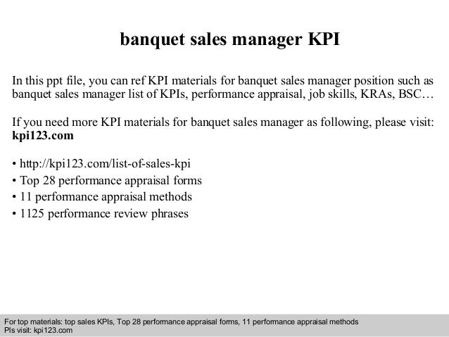 Banquet Sales Manager Kpi